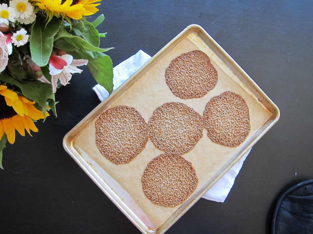 baked sesame florentines