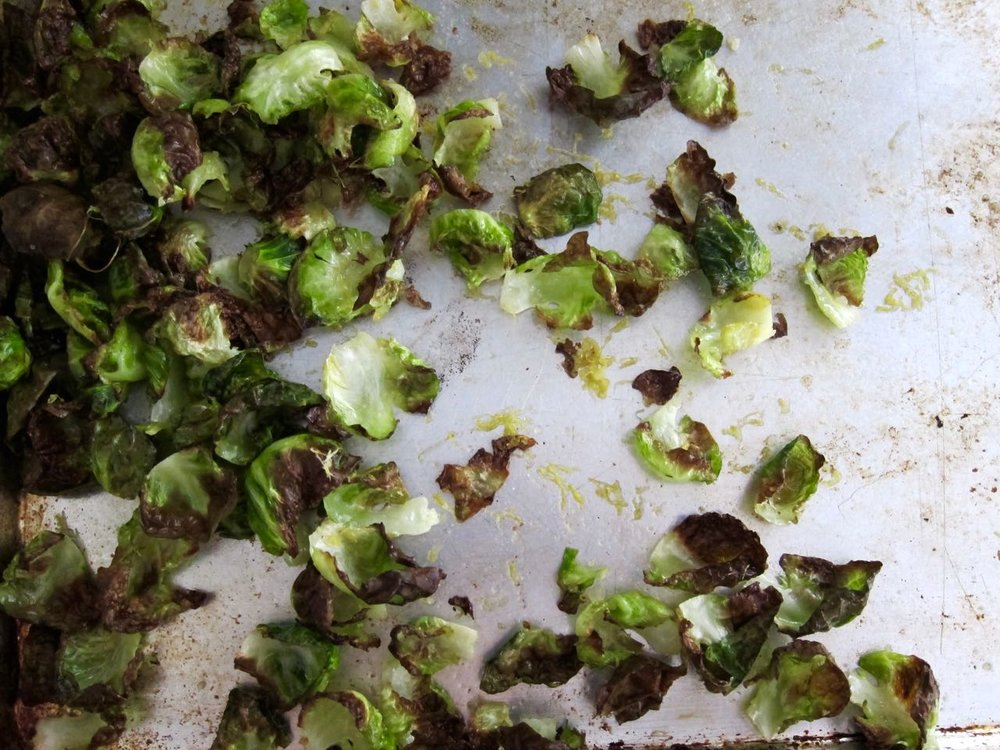 Oven baked brussels sprouts chips