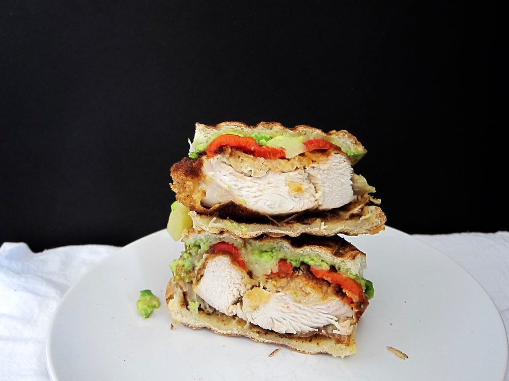 Breaded Chicken Avocado Red Pepper Manchego Sandwich