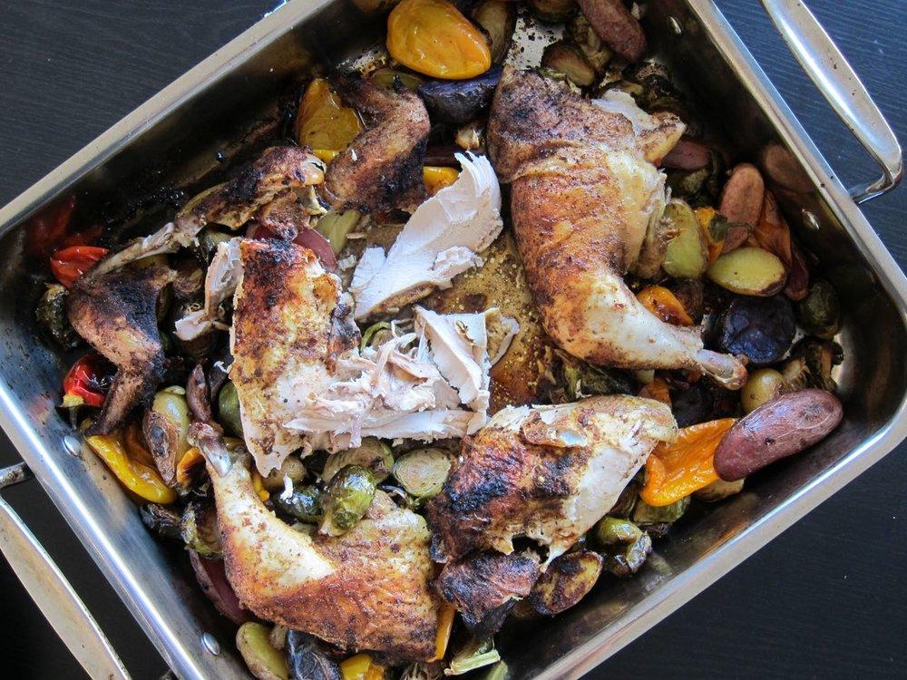 Beer Can Oven Roasted Chicken & Veggies