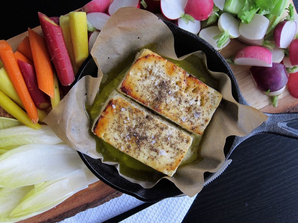 Roasted Feta with Crudites