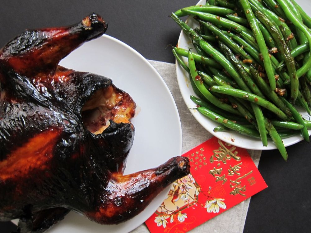 Lacquered Roast Chicken and Green Beans