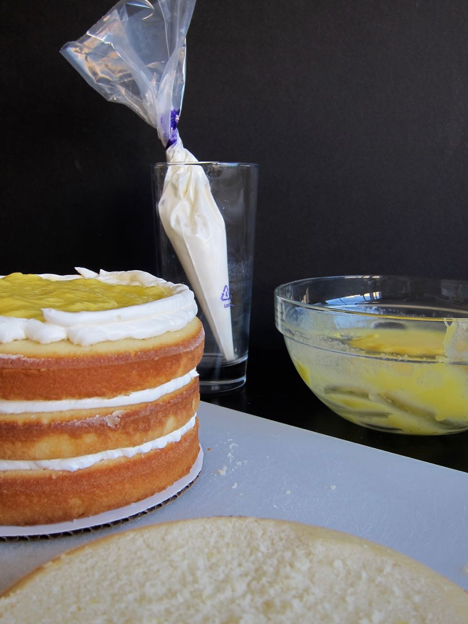 stacking lemon cake