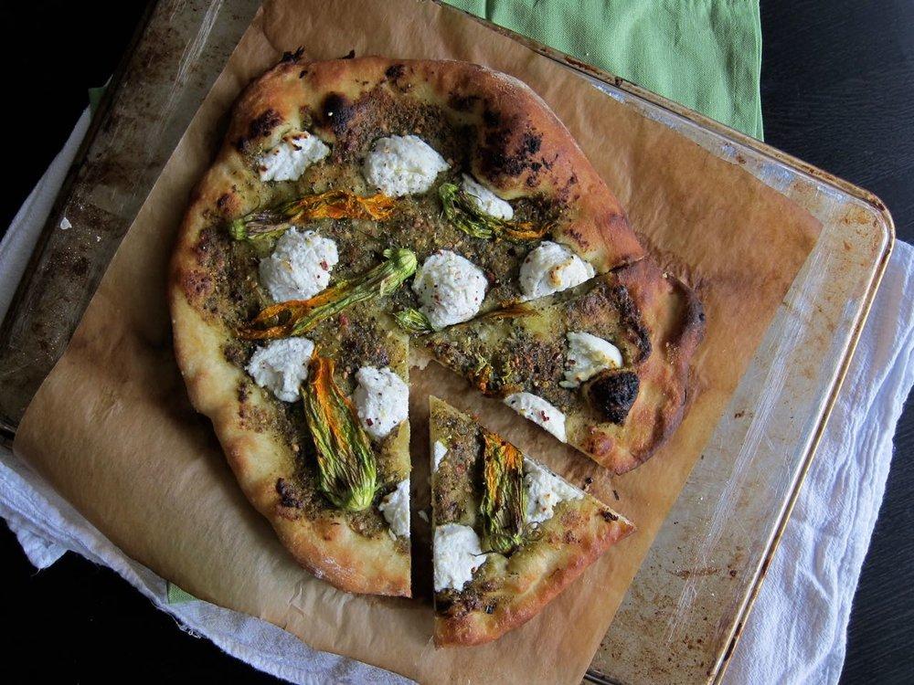 Ricotta Pesto Squash Blossom Pizza
