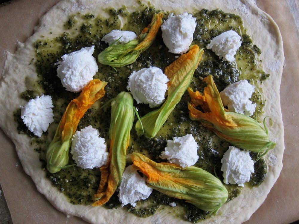 Pre-baked Ricotta Squash Blossom PIzza