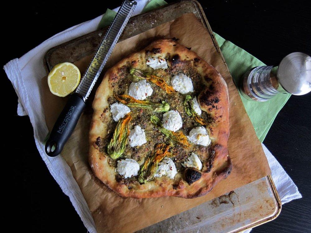 Just Baked Ricotta Squash Blossom Pizza