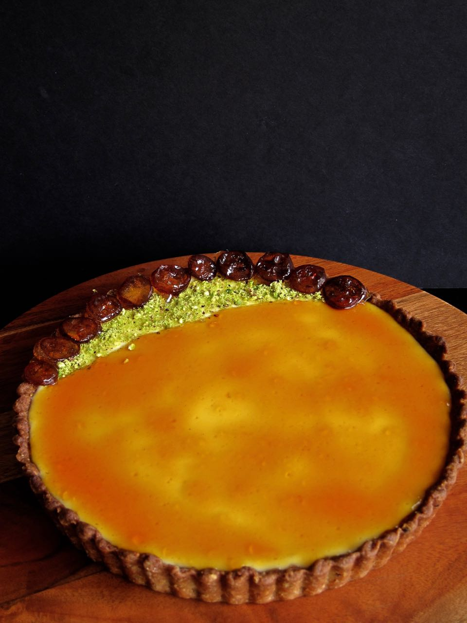 Labneh Tart with Pistachio Crust and Kumquat Caramel