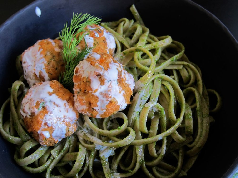 Sorrel Pesto Pasta with Salmon Meatballs