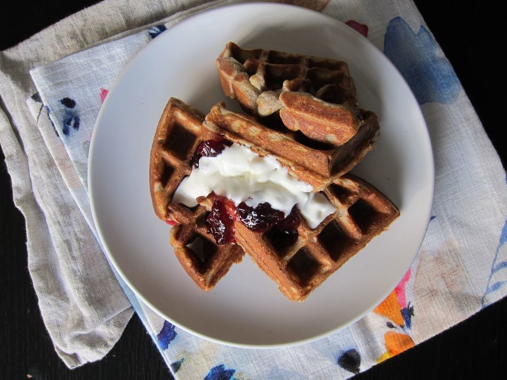 Raised Buckwheat Olive Oil Waffles