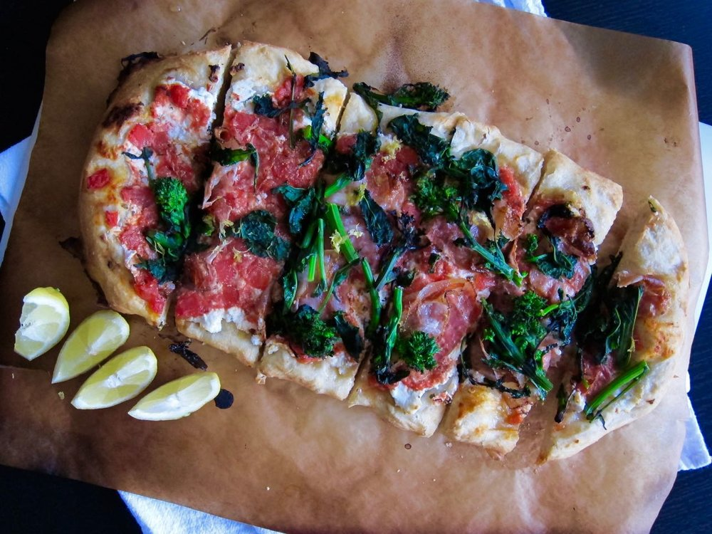 Ricotta Coppa Broccoli Rabe flatbread sliced