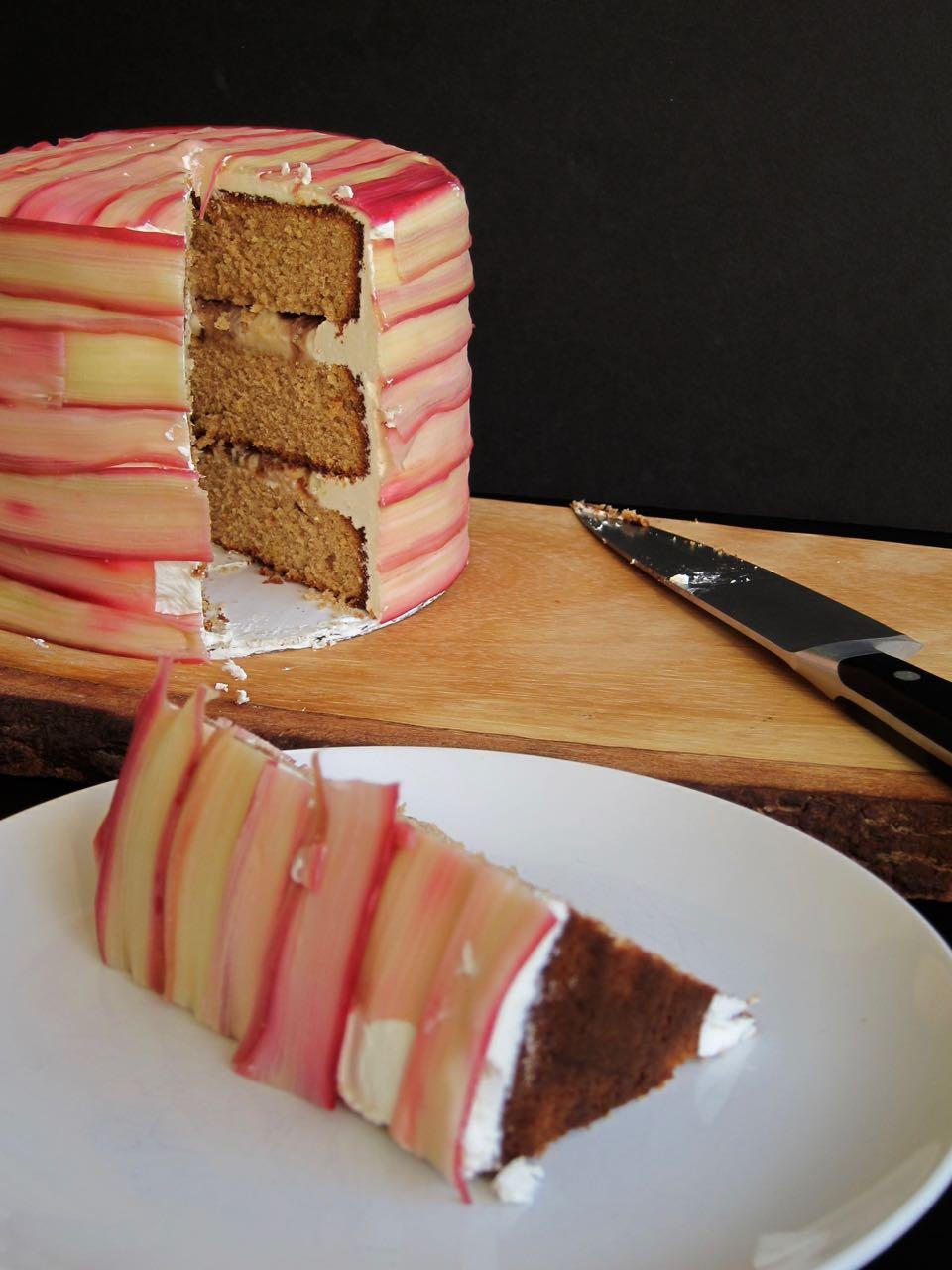 Vanilla Rhubarb Pear Cider Spice Cake