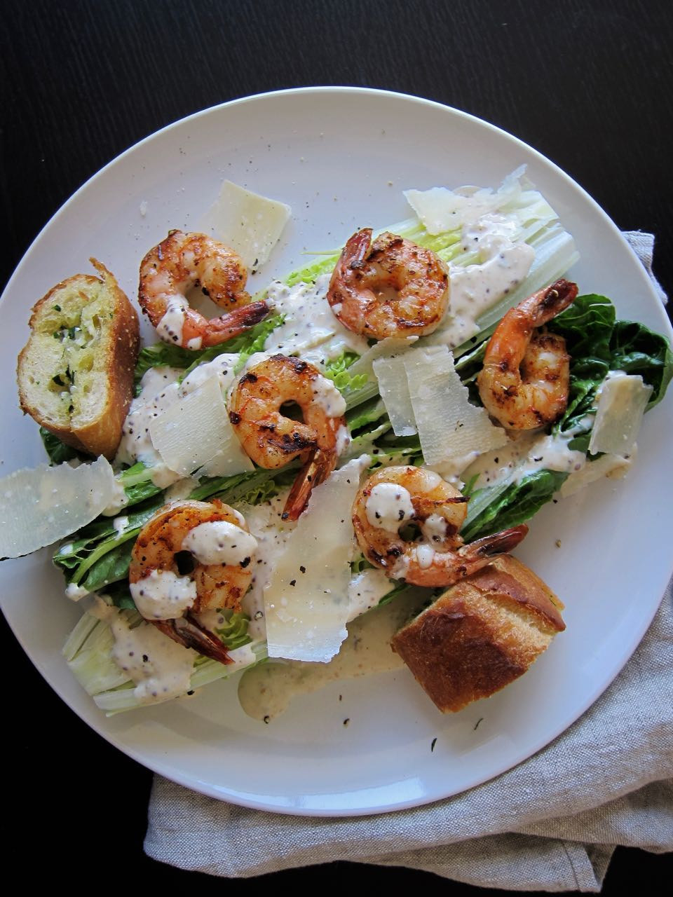 Grilled Shrimp Caesar Salad with Garlic Bread Croutons