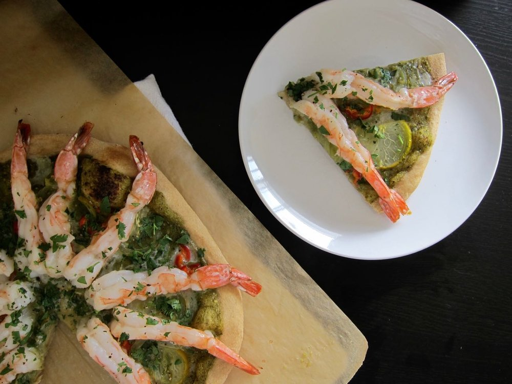Sliced Prawn Salsa Verde Pizza
