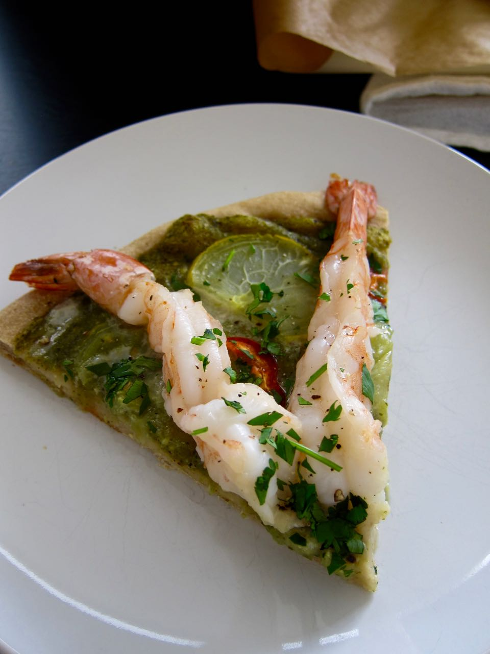 Slice of Prawn Salsa Verde Pizza