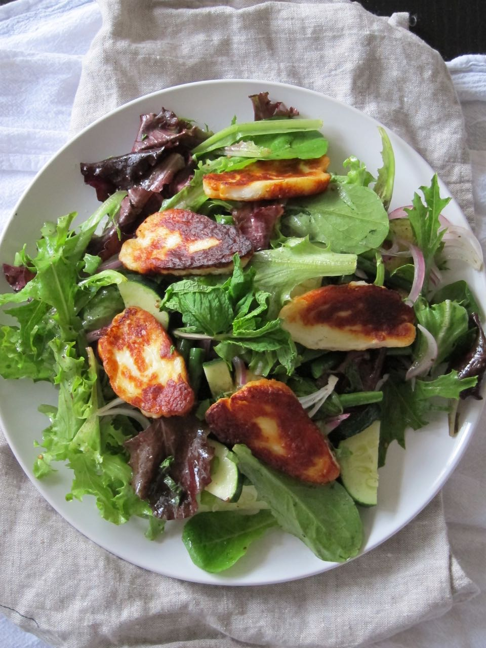 Fried Haloumi Salad with Zaatar Dressing