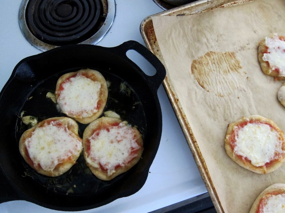 frying baked mini pizzas.jpg