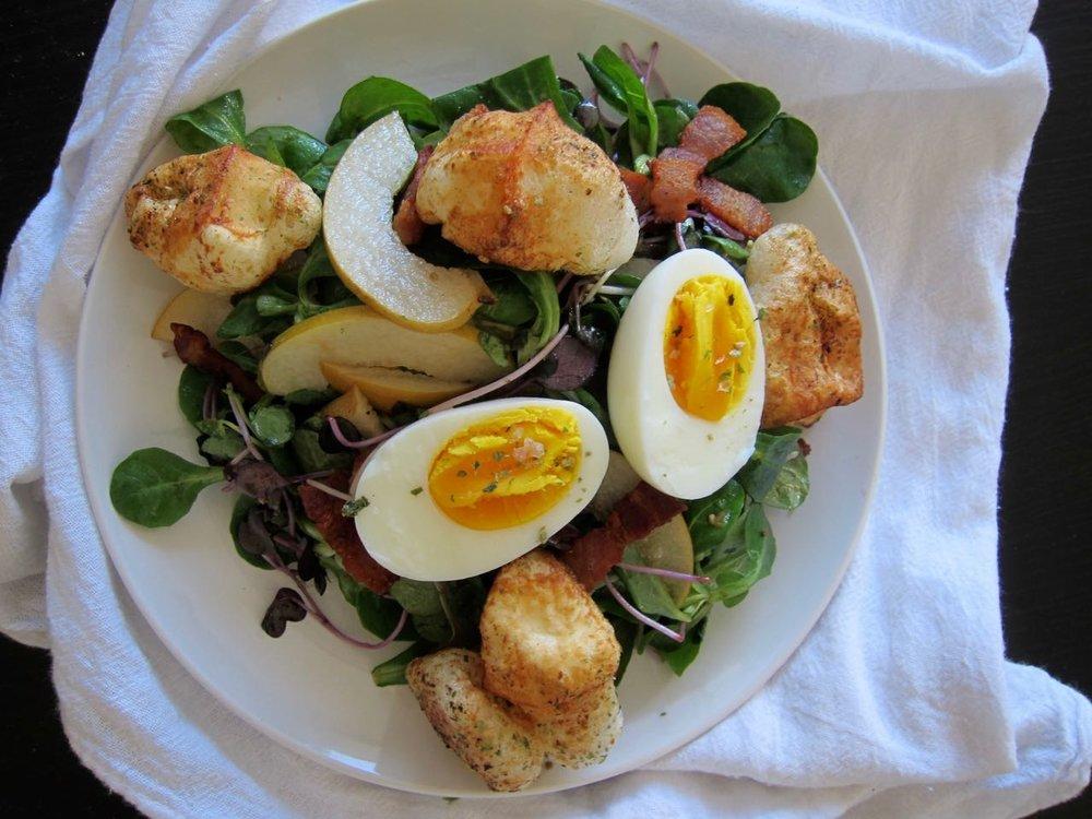 Asian Pear & Bacon Salad with Furikake Mochi Croutons