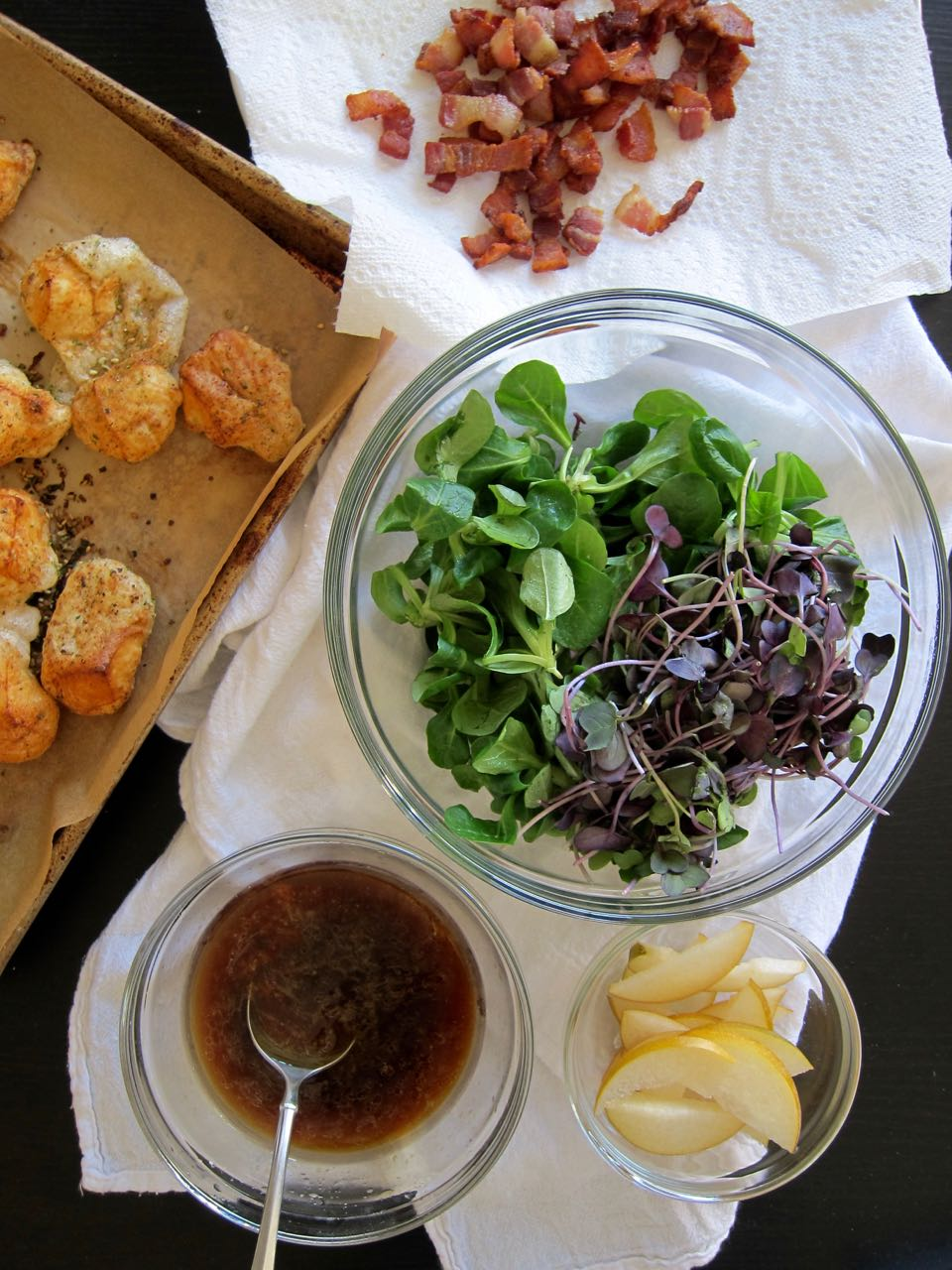 Asian Pear & Bacon Salad Components