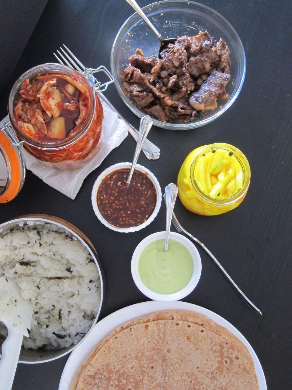 Kimchi bulgogi burrito ingredients