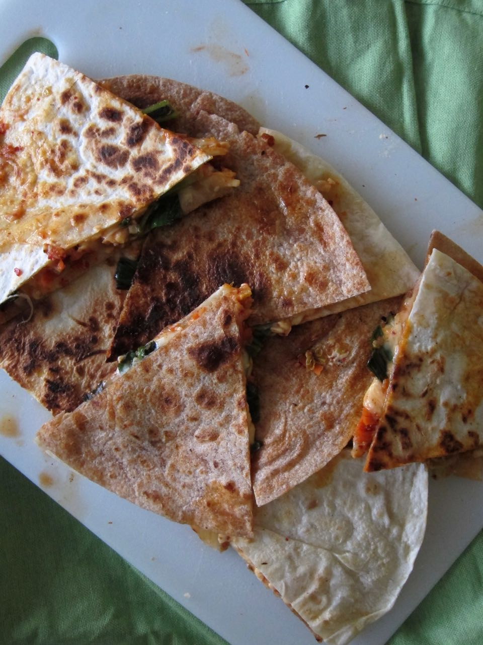 Charred Scallion, Kimchi & Cheese quesadillas