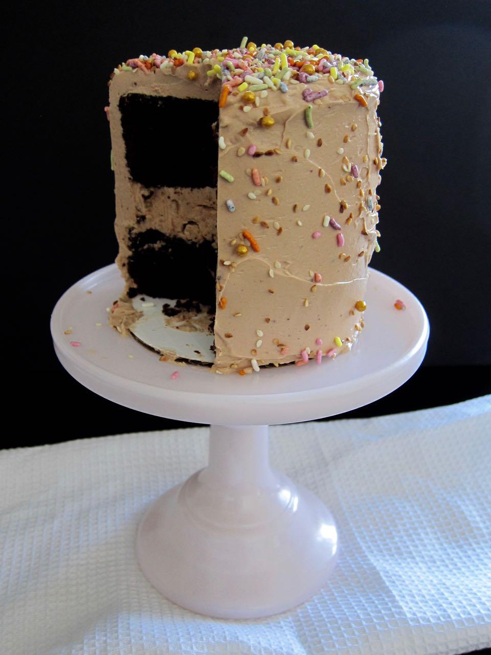 sliced chocolate halva tahini cake