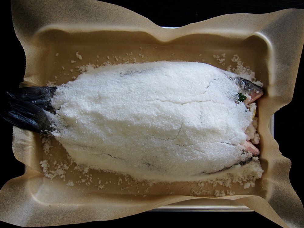 salt packed stuffed whole fish