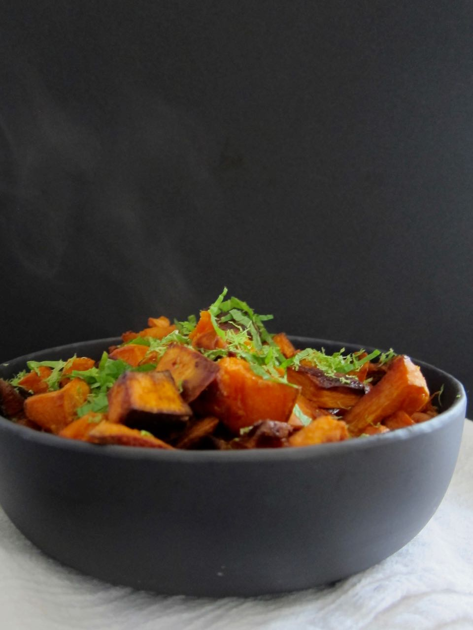 Coconut roasted sweet potatoes with lime