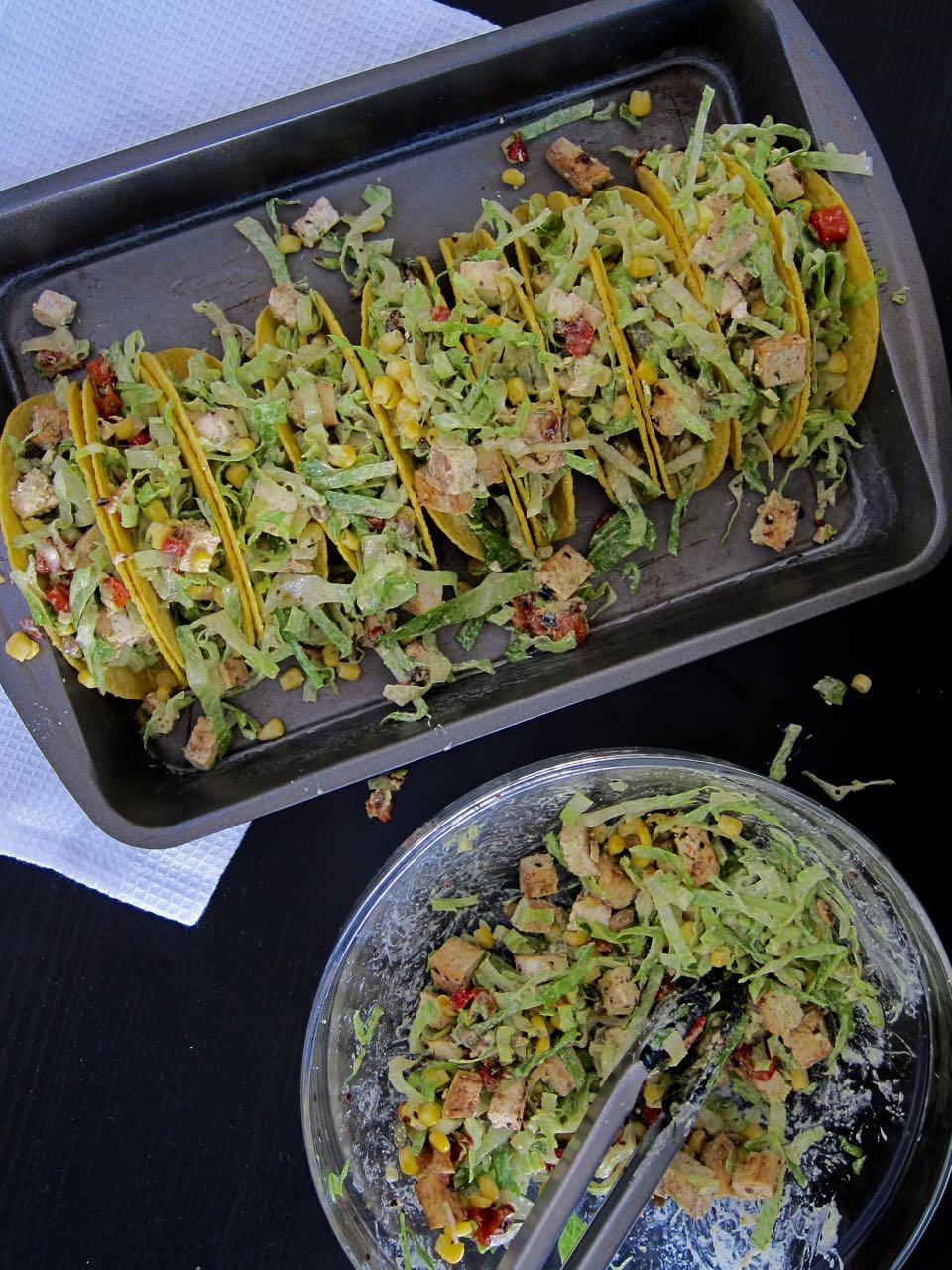 filling salad tacos