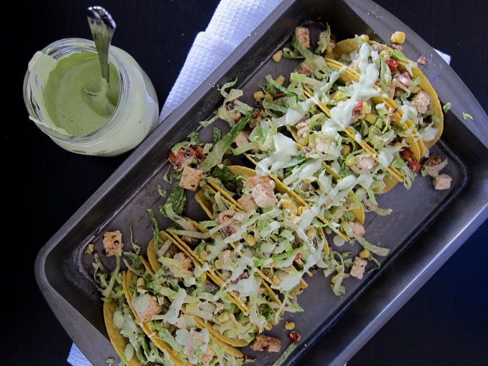 dressing salad tacos