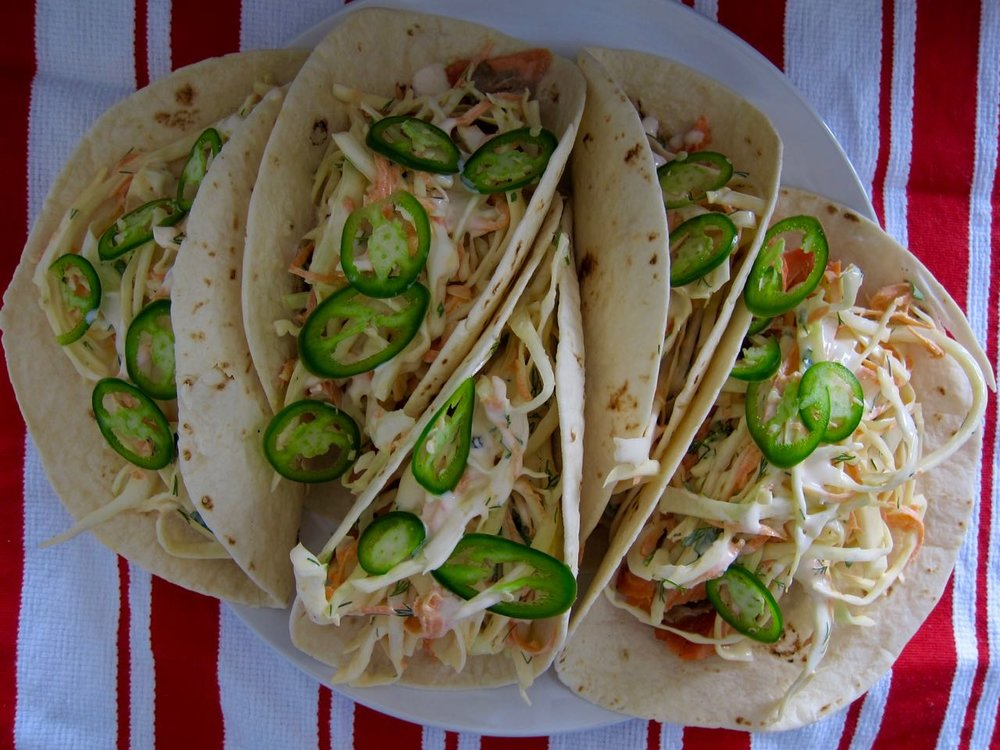 corned salmon fish tacos