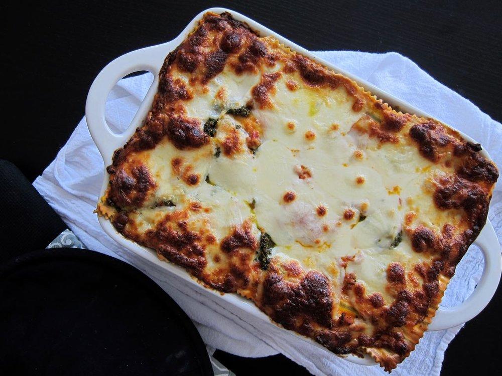 baked veggie & chicken lasagna