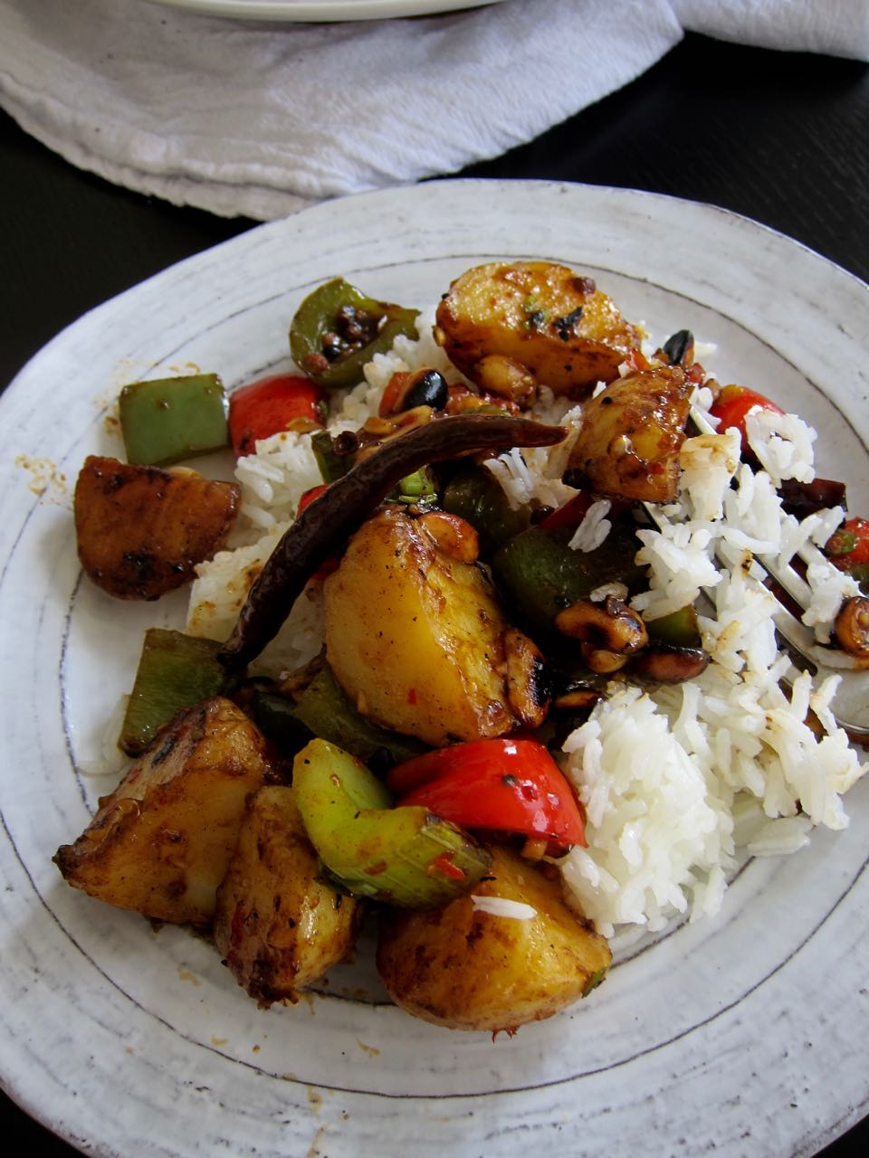 kung pao potatoes with rice