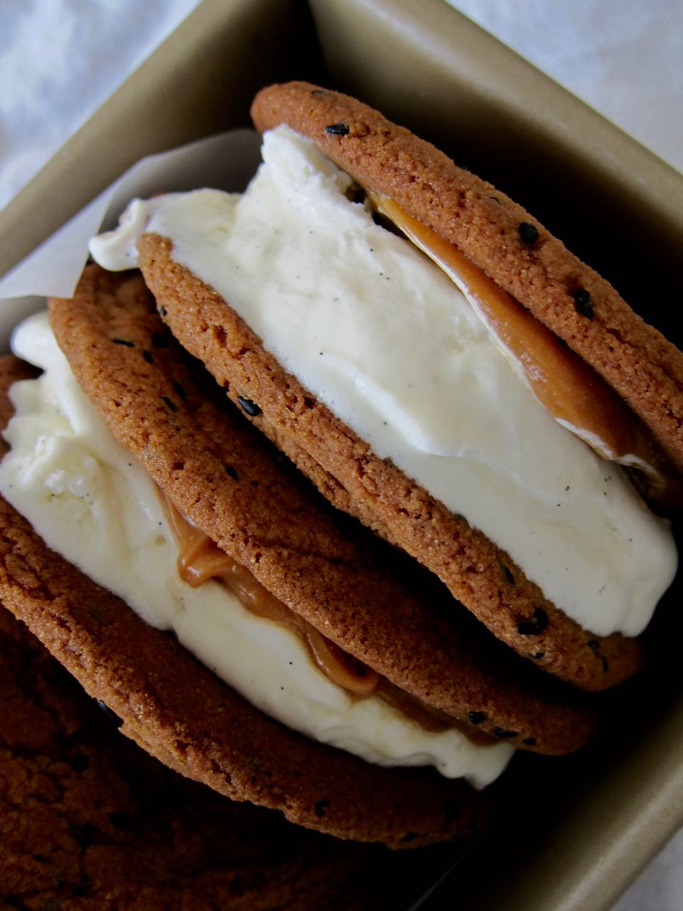 Black Sesame & Vanilla Ice Cream Sandwiches