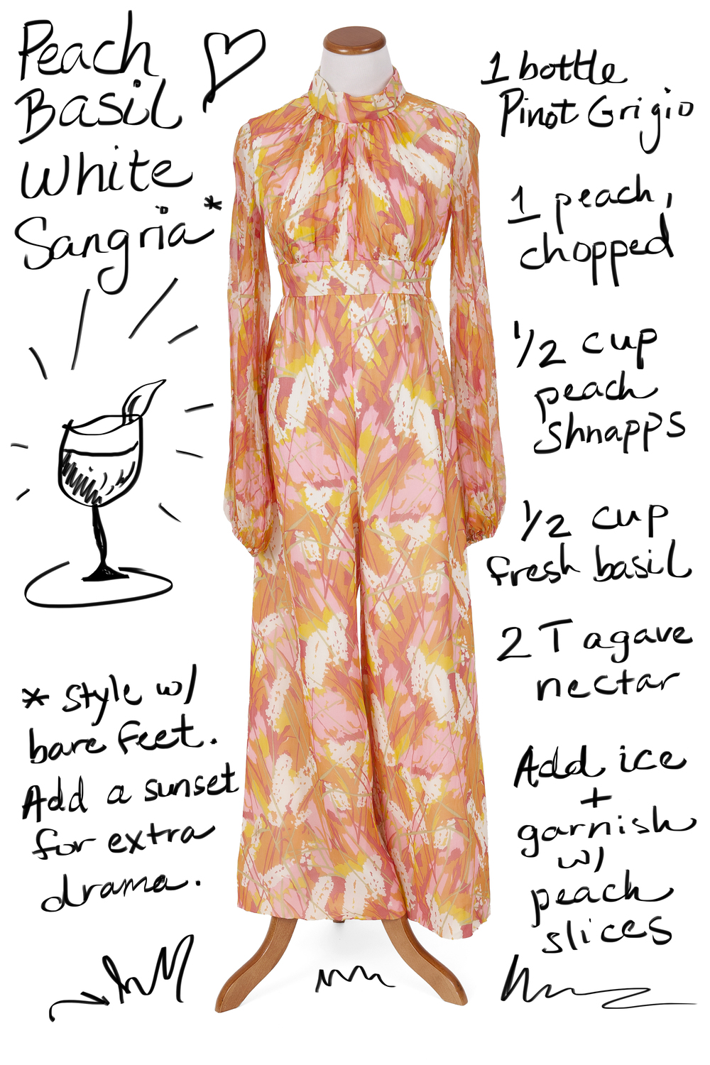 Vintage Jumpsuit with Peach Basil White Sangria
