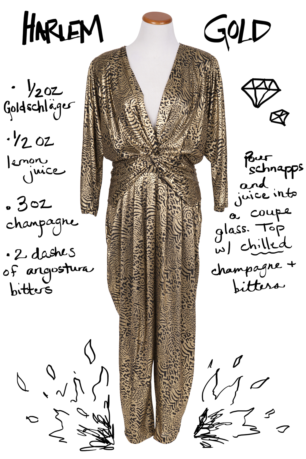 Vintage gold jumpsuit paired with Goldschlager and champagne