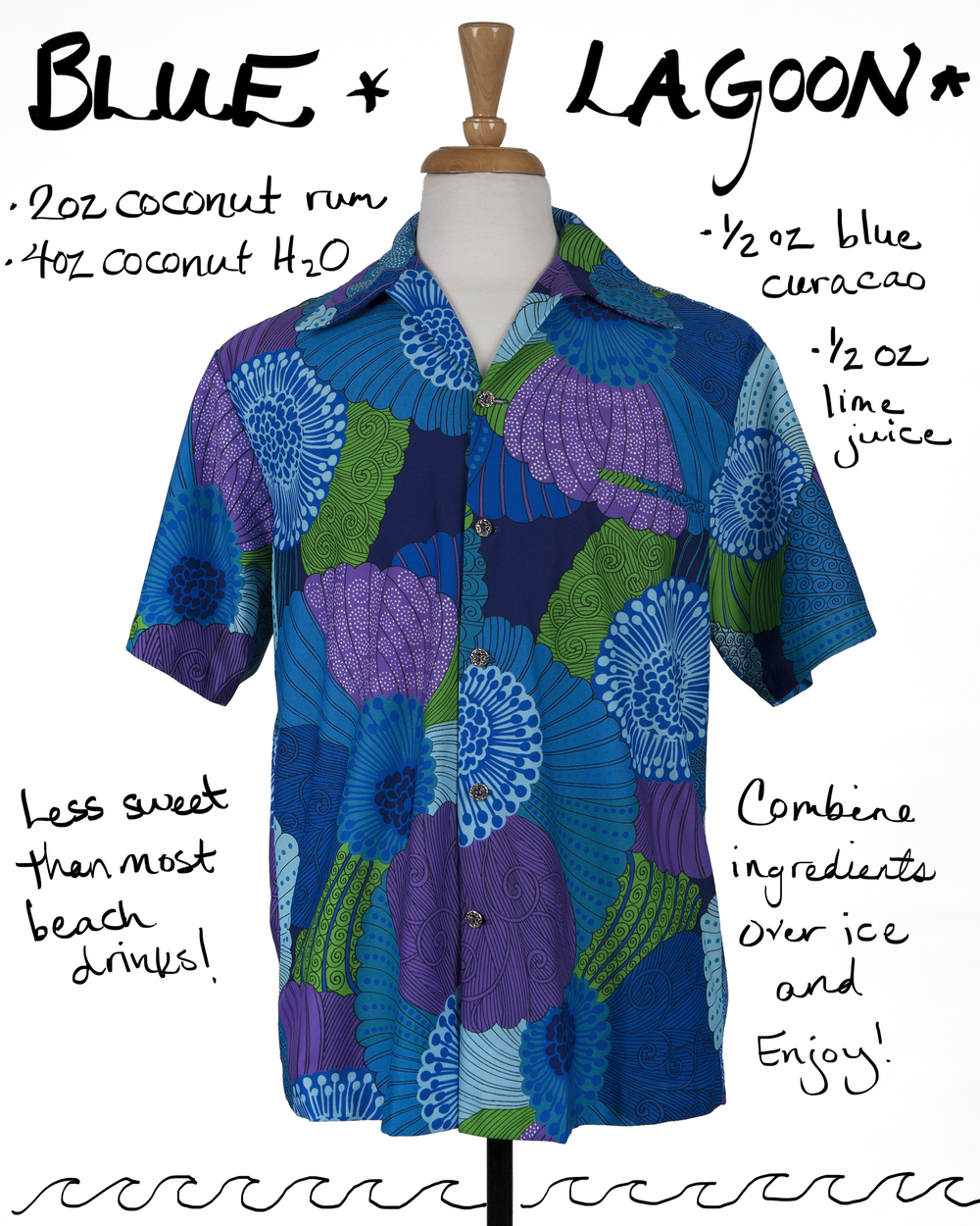 Vintage beach shirt and rum cocktail