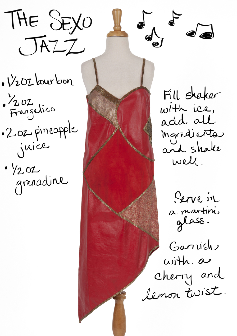 Vintage red leather cocktail dress paired with a whiskey cocktail- The Sexo Jazz