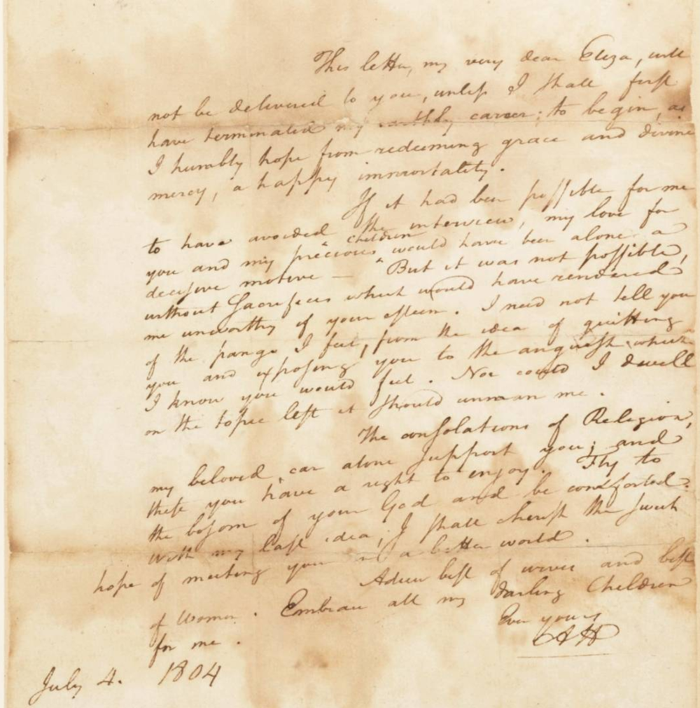 Alexander HamiltonS Farewell Letter To His Wife Eliza July