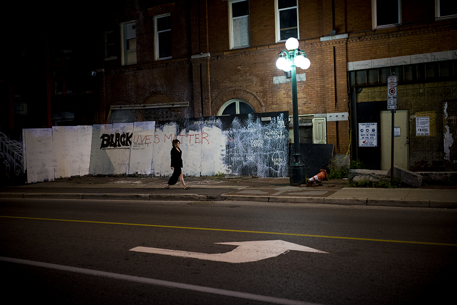 Black Lives Matter mural defaced by a vandal in downtown Ottawa.