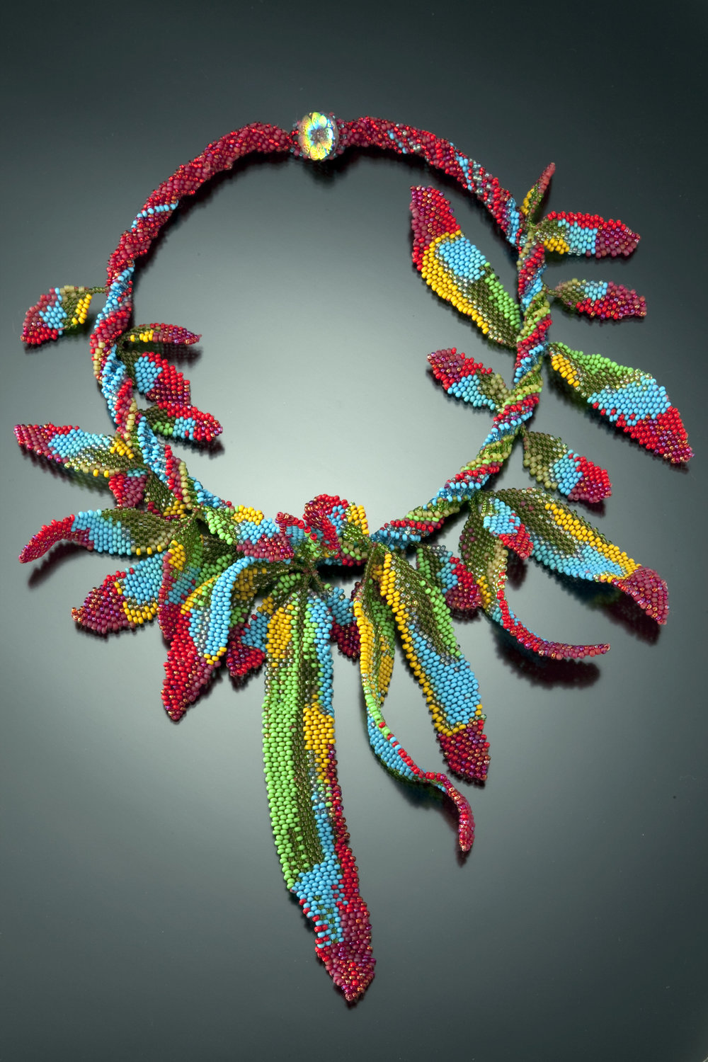 Parrot Feathers - Bead-Woven Vibrant Feather Boa Necklace