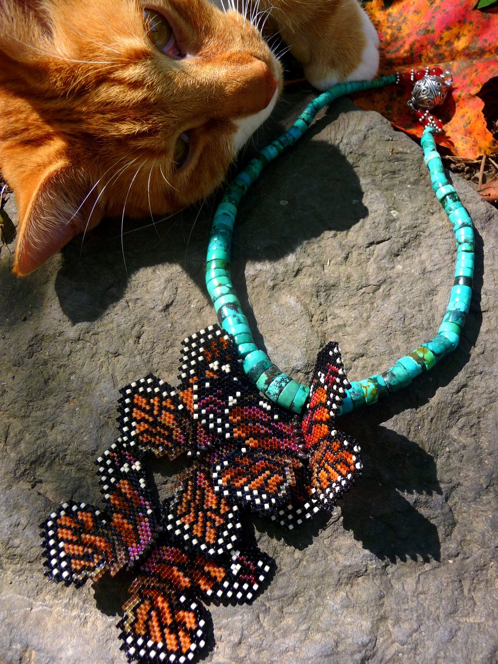 Monarch Mgration necklace kitty photbomb