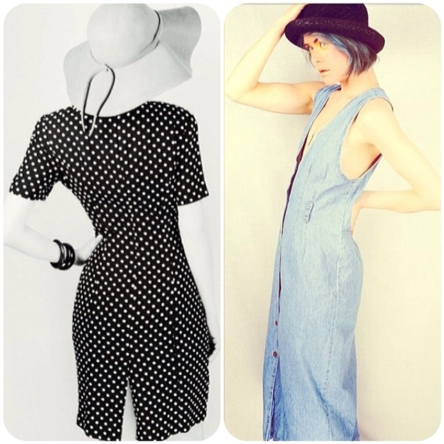 Polka-dot + Denim = More #vintage pieces coming to the @americandriftervintage Pop-up today! (Both dresses size M, $52/$62) #antoinetteXamericandrifter #americandriftervintage #antoinettevintage #regram #brooklyn #williamsburg #rocknroam #popup (at antoinette)