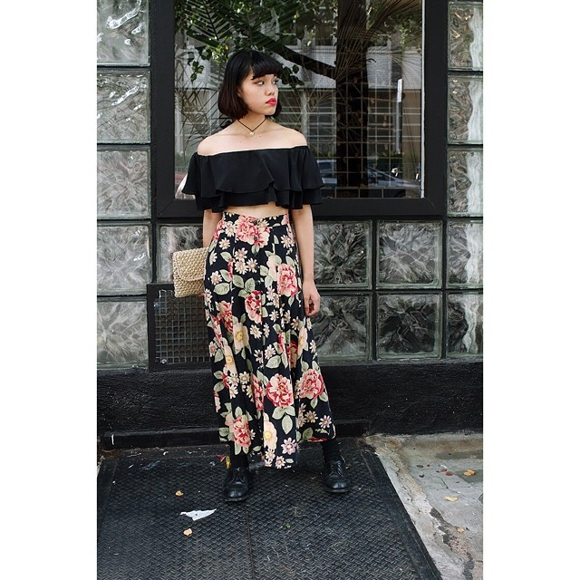 Total babe Hoachey modeling the @viva_aviva #RongoCropTop $150 & #vintage #1990s #Express Maxi Skirt $60 #antoinettevintage #vivaaviva #madeinusa #madeinnyc #oneofakind #grunge #ootd #summerstyle #streetstyle #festivalstyle #williamsburg #brooklyn         Photo by Mihee Suh for #BrooklynizeProject  (at Antoinette)
