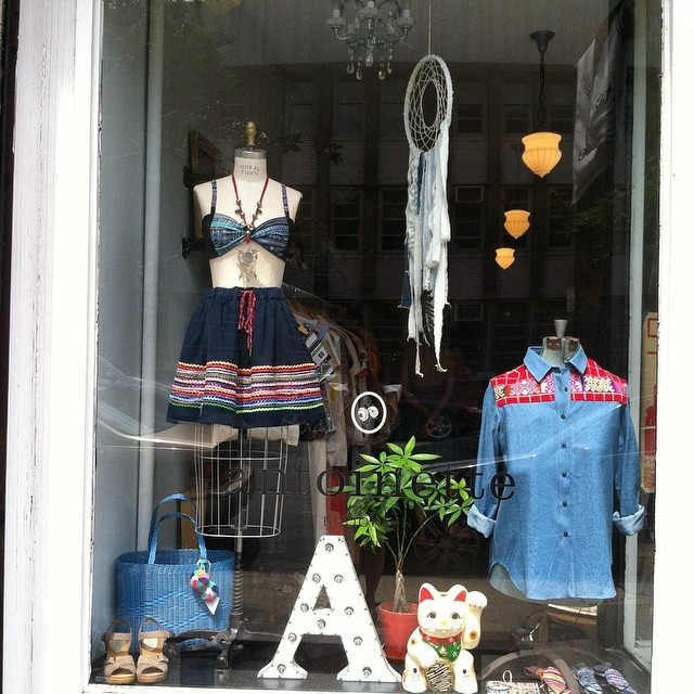 Our magical window for this weekend's Pop-Up ✨ #antoinettevintage #laselvaclothing #popup #williamsburg #brooklyn #thriftandstyle  (at Antoinette)