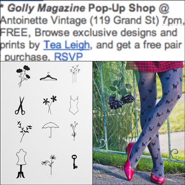Check out our #OneStopPopUpShop event on the @greenpointers calendar this week! Boom!💥💥💥  Hand pokes by @tealeigh & giveaways from @gollymagazine & @tabbisocks   #antoinettevintage #vintage #GollyMagazine #TeaLeigh #TabbiSocks #Popup #williamsburg #Greenpointers #brooklyn  (at Antoinette)