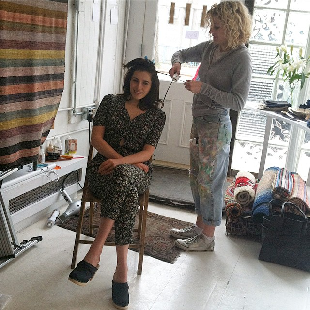 #BTS Coming Soon! Spring Website Launch #AntoinetteBabeSabina getting prepped by neighborhood stylist @staggerly 💁 #AntoinetteBrooklyn #EComm #Vintage  (at Sharktooth)