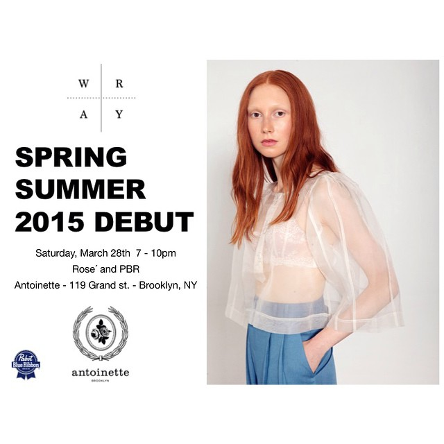 Come welcome our newest #Brooklyn Designer @wraycollection Saturday, March 28th for cocktails between 7-10pm to meet the designer, get a 1st look at the Spring/ Summer 2015 pieces & shop the collection -Including some #AntoinetteBrooklyn Exclusives at a 10% discount! 💙 (at Antoinette)