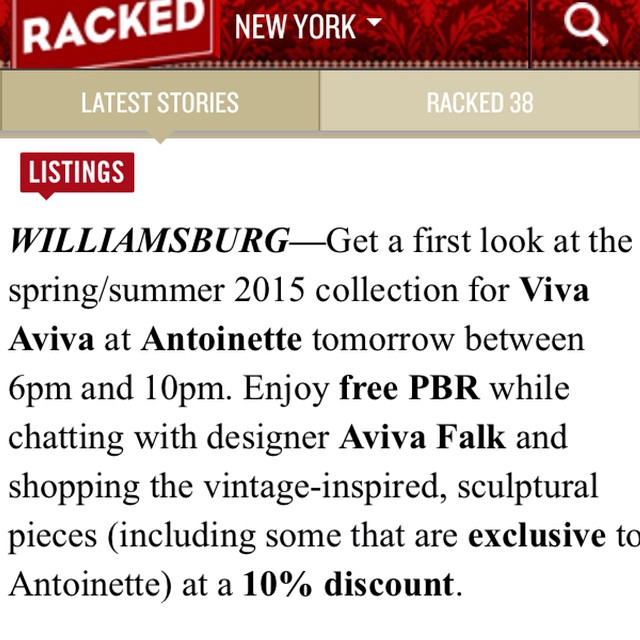 Thanks for the 💘 @rackedny!  It might be raining but we promise tonight will be worth it!   To get you in the Fall spirit we'll be serving some pumpkin spice rum drinks along w/the @pbrnyc   The Antoinette Exclusives will sell out fast so get here early & you can also preorder @viva_aviva 2015 collection!  Plus all Vintage is 10%off!  Party Starts at 6pm!   #antoinettevintage #vintage #oneofakind #vivaaviva #madeinusa #williamsburg #brooklyn #thriftandstyle #popup (at Antoinette)