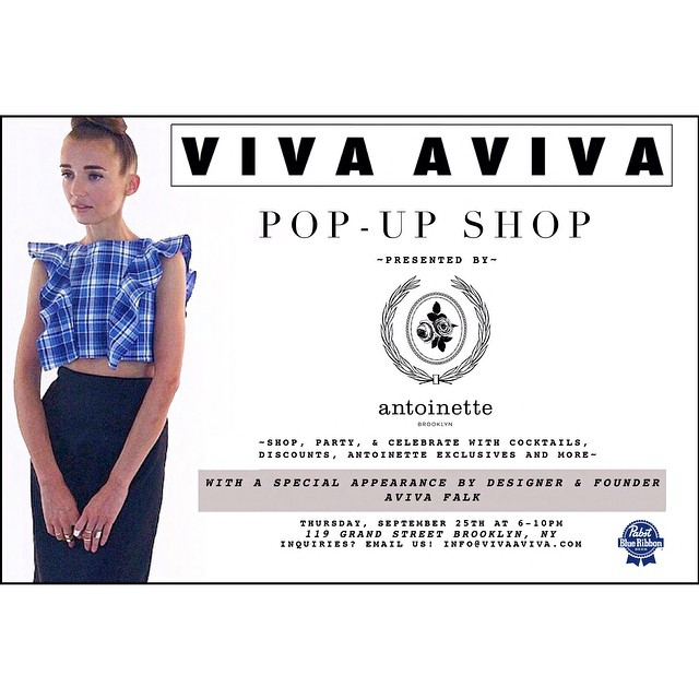@viva_aviva is back for another Pop-Up!  Join us this Thursday, September 25th from 6-10pm to view the Fall collection, sip on some @pbrnyc 's & meet the designer herself.  For all those in ❤️ with the famous #MagnoliaCropTop, the Fall edition is out along with the rest of the collection too.  There's also an #AntoinetteVintage exclusive but only a limited edition made so get here early if you want one 👌  #vivaaviva #madeinusa #vintage #williamsburg #brooklyn #thriftandstyle #popup (at Antoinette)