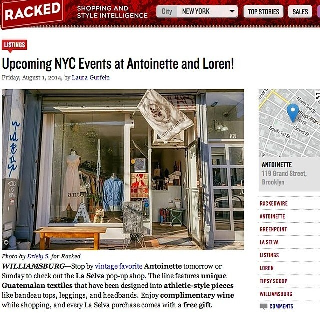 Thanks @rackedny for the Pop-up ❤️, you're our favorite too! 💞   Be sure to stop by the shop after brunch & check out the @laselvaclothing #popup ✨  #antoinettevintage #vintage #laselvaclothing #guatemela #heirloom #textiles #oneofakind #madeinnyc #williamsburg #brooklyn #rackedny #thriftandstyle  (at Antoinette)